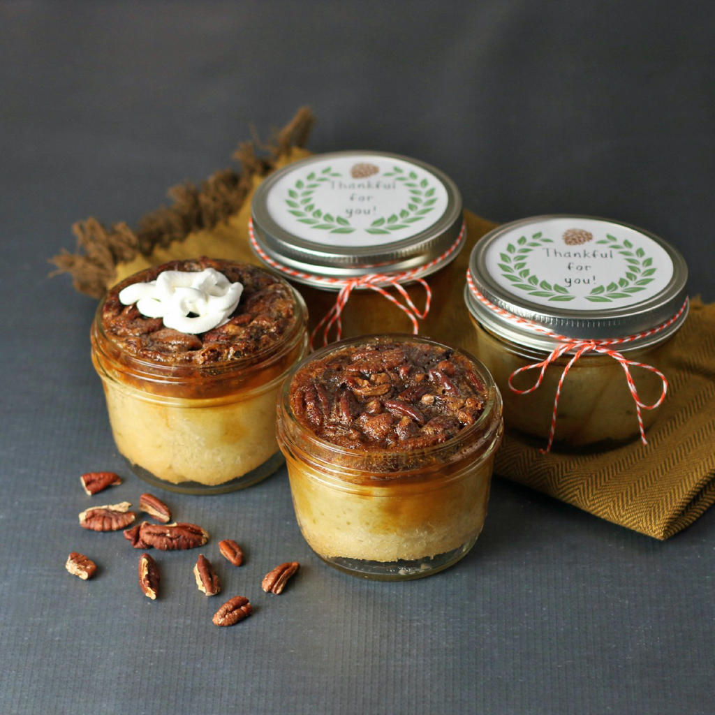 pecan pie in jars with labels and twine