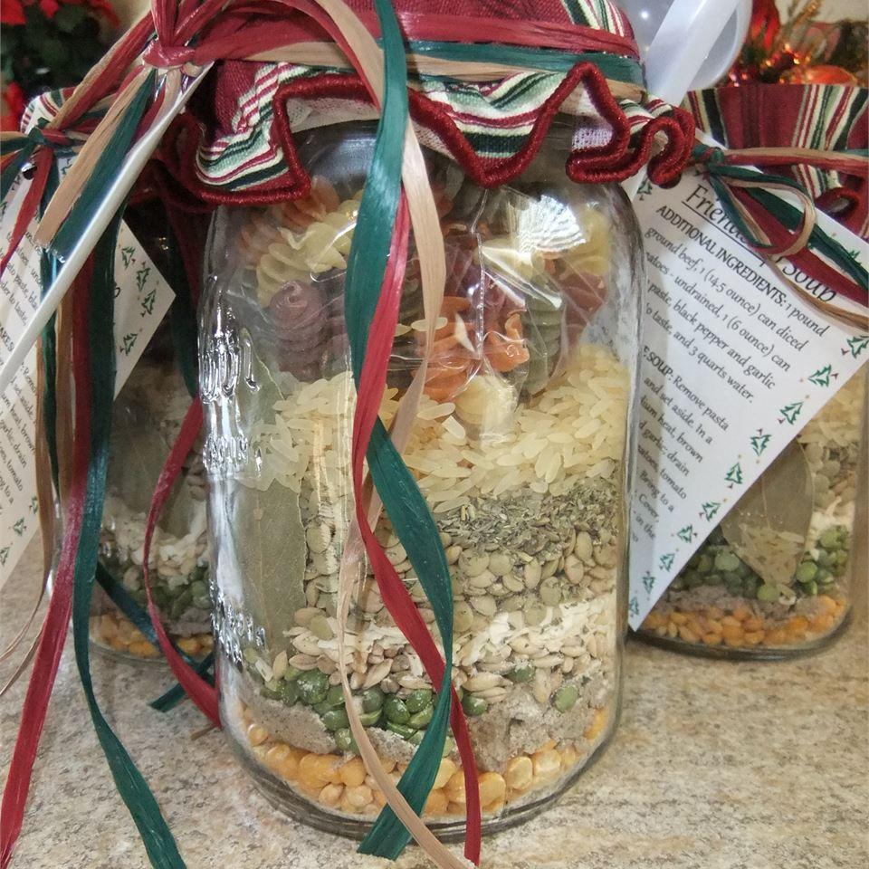 dry soup mix layered in a gift jar