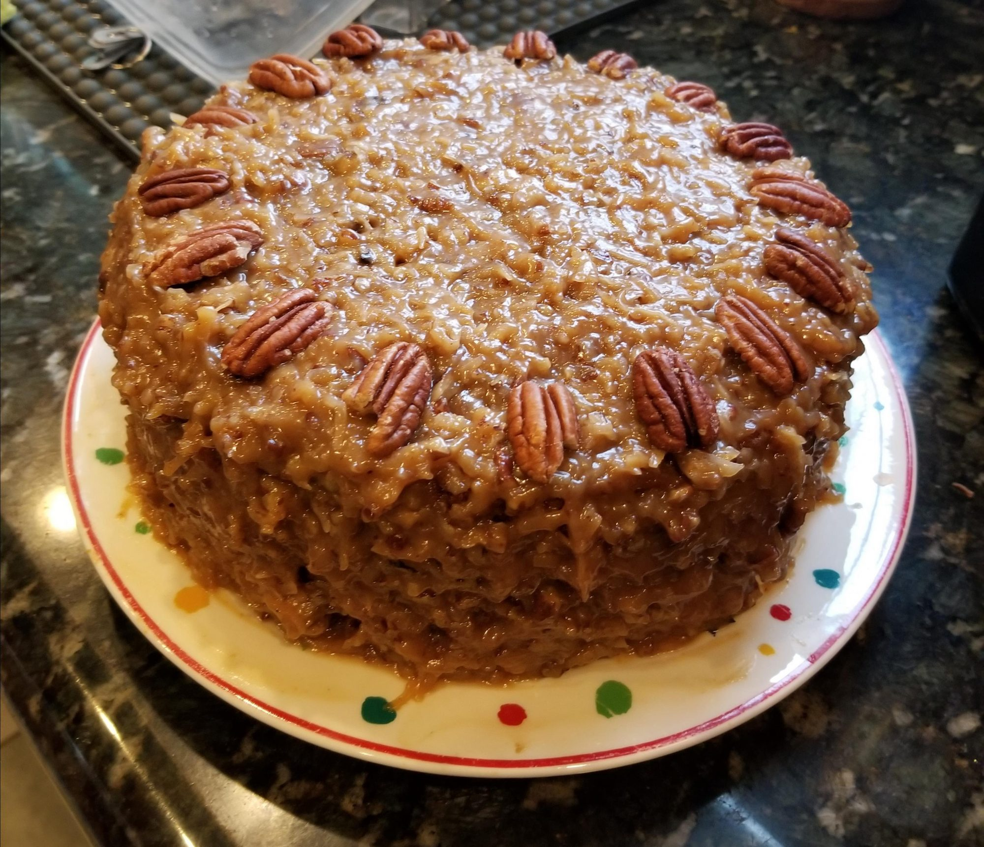 German chocolate cake decorated with pecans