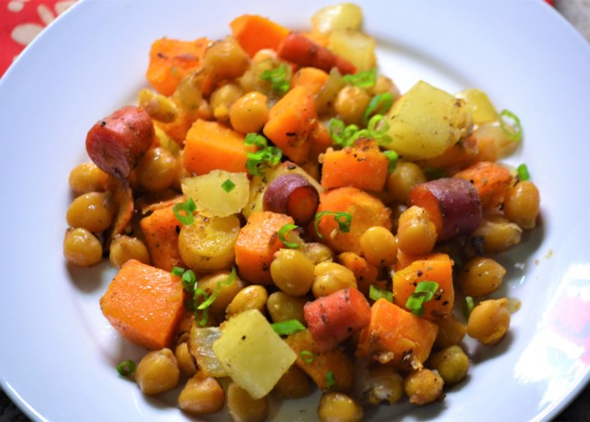 Vegan sheet pan dinner recipe with garbanzos and root vegetables