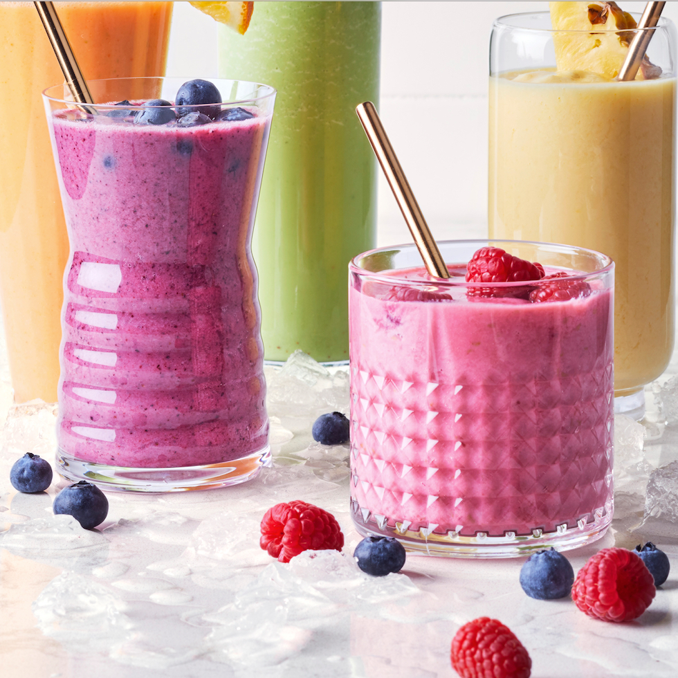 smoothies in glasses