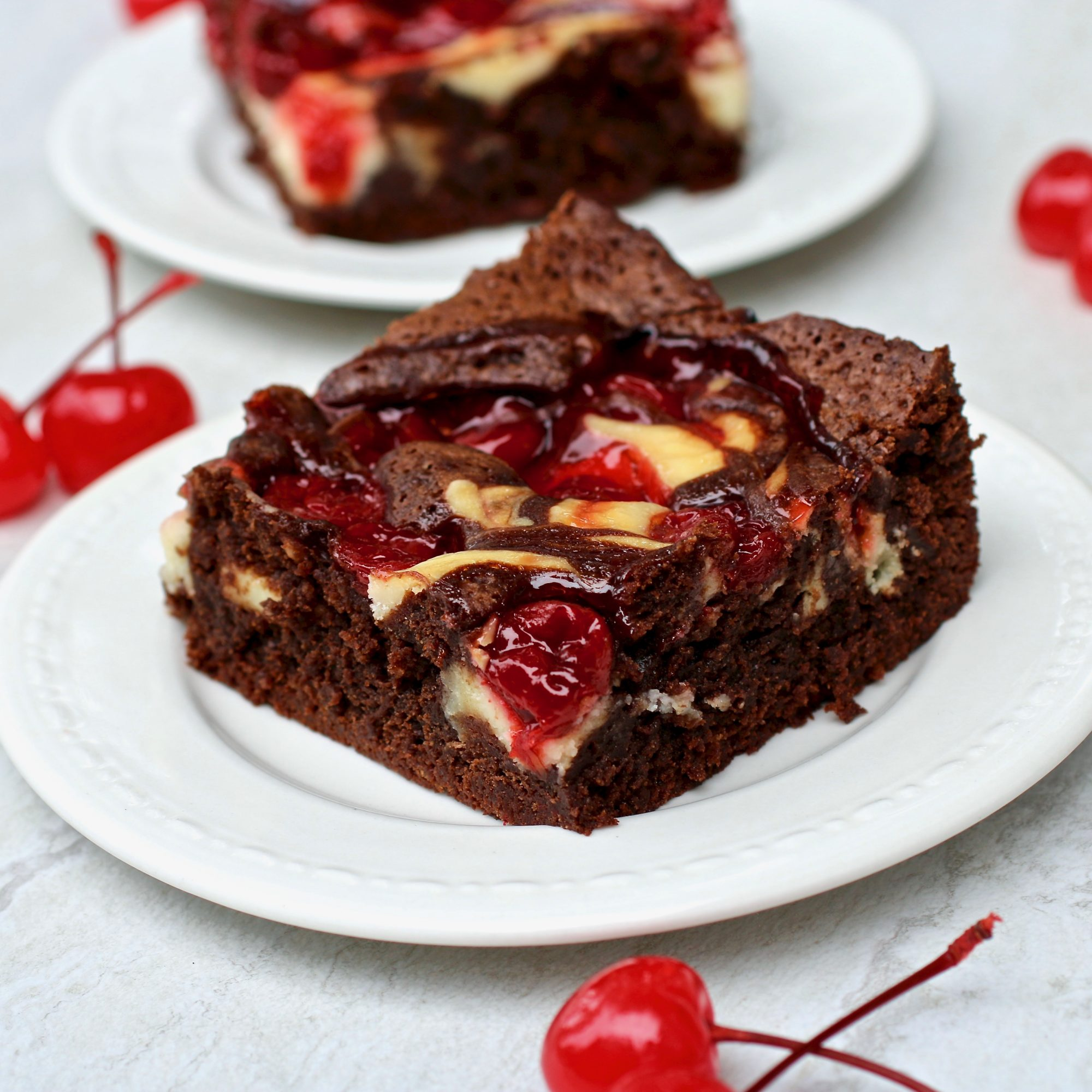 cherry cheesecake brownie on a plate