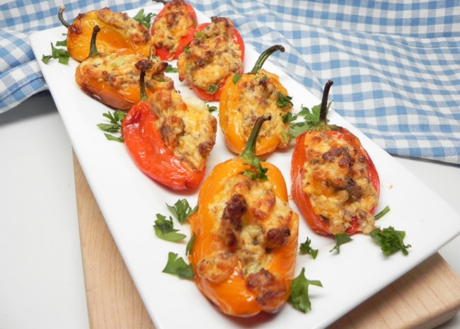 Air Fryer Mini Peppers Stuffed with Cheese and Sausage