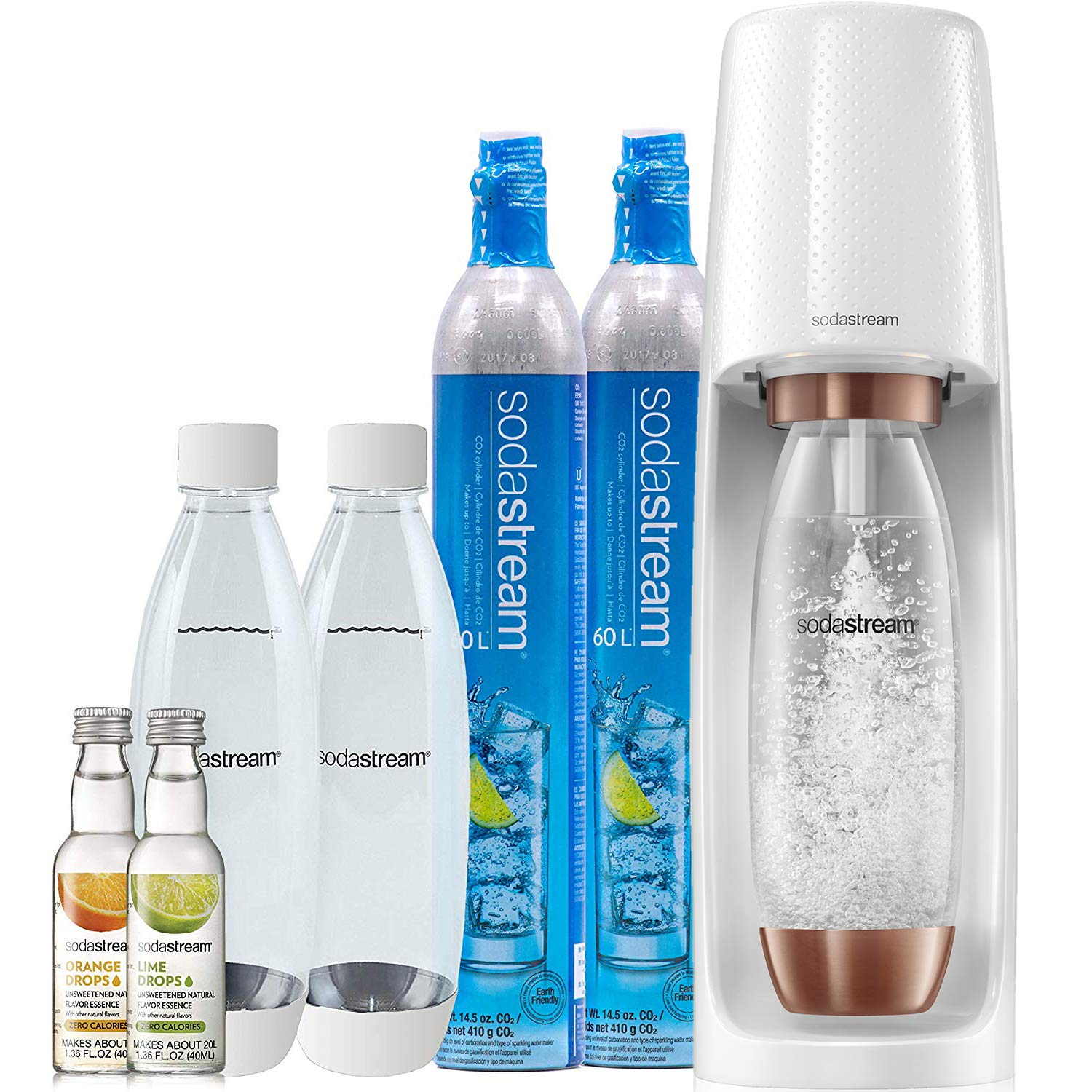 Everything your loved one needs to feed their sparkling water cravings is in this SodaStream bundle — CO2 cylinders, extra bottles, zero-calorie fruit drops, and the Sparkling Water Maker. The maker comes in several great colors, but the chic white with rose gold accents is certain to go in any kitchen seamlessly.