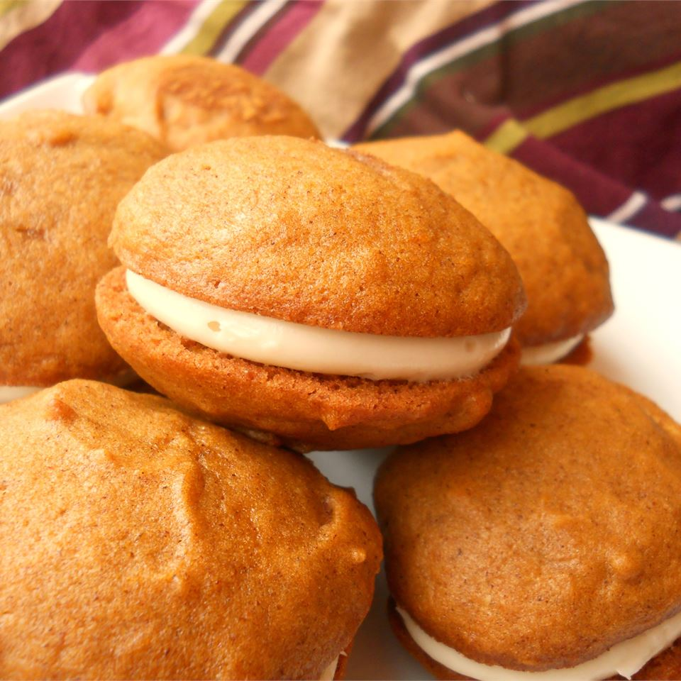 Pumpkin Whoopie Pies on a white plate