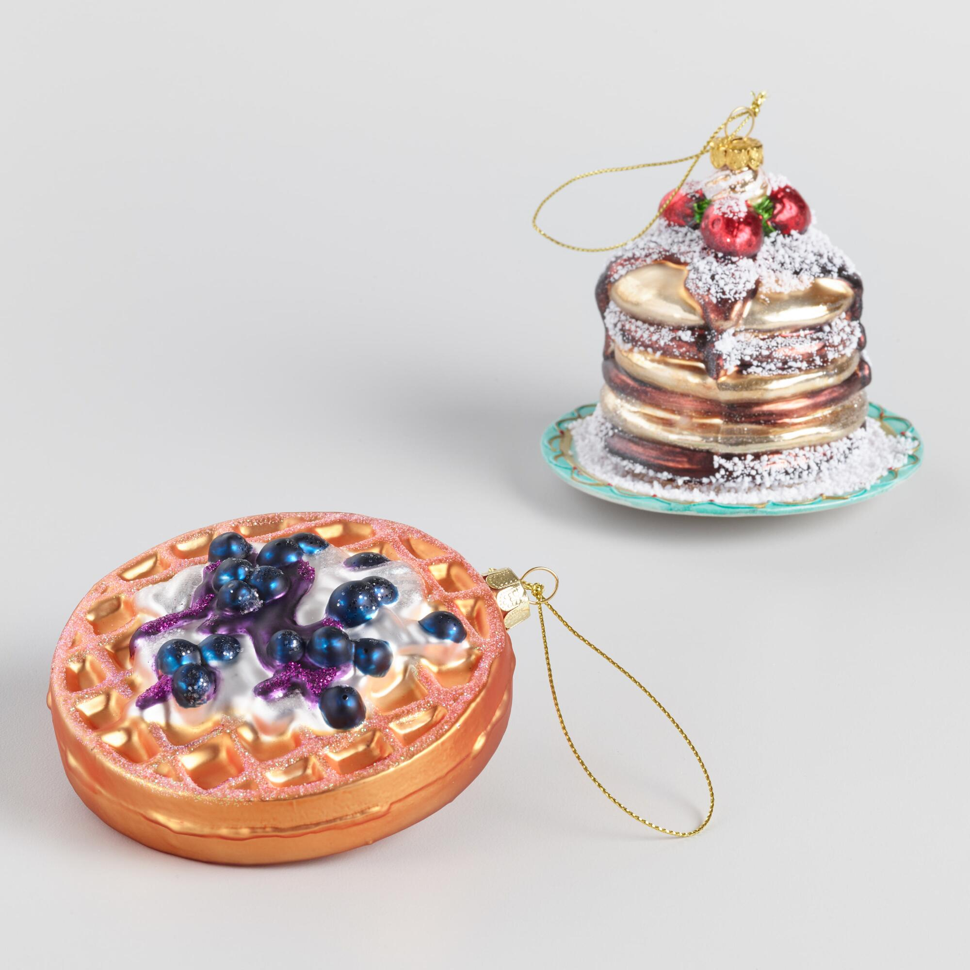 Glass Pancakes And Waffle Ornaments