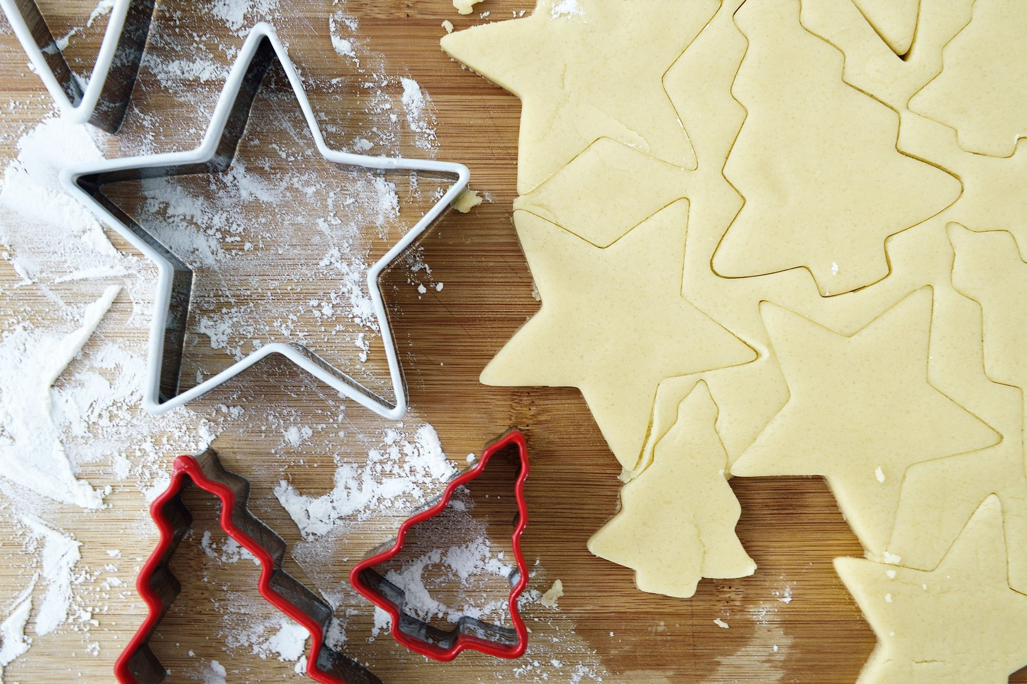 Christmas cookie cutters dough