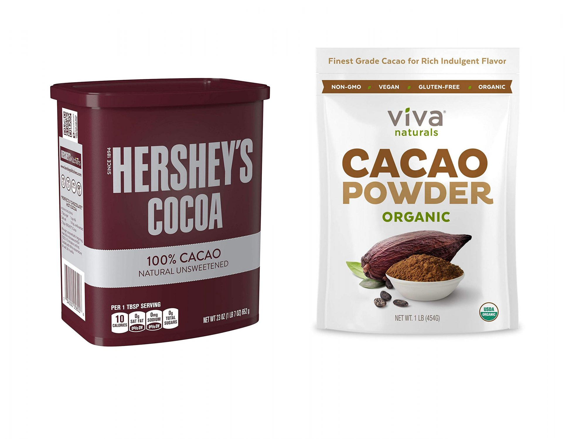Hershey's Cocoa Powder and Viva Naturals Cacao Powder
