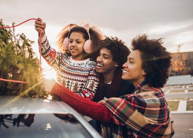 family with christmas tree on car