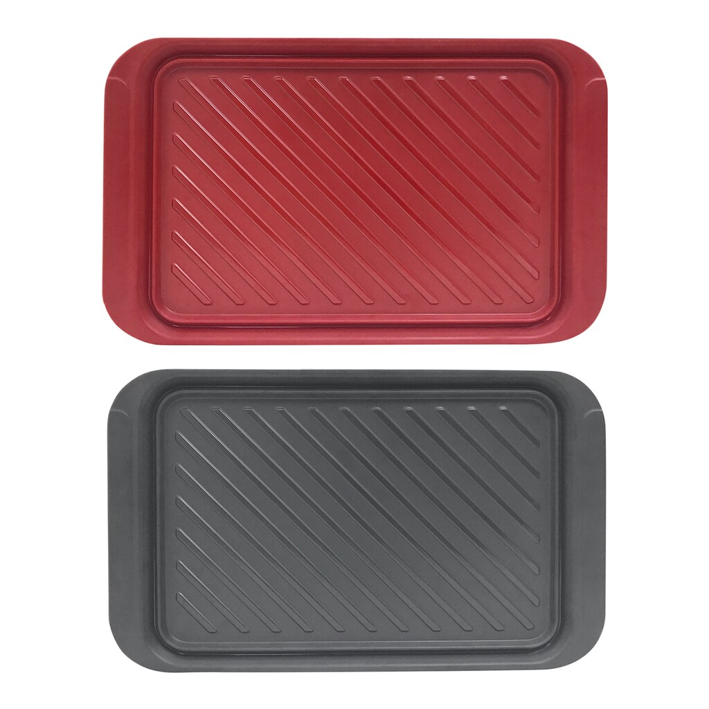 With grilling, there's a lot of shuttling raw and cooked food from kitchen to patio to dinner table. This two-piece tray set is a no-brainer way to avoid cross-contamination between raw and cooked foods. Use the red tray to carry the raw meat out to the grill, with the gray tray nested underneath. When the food is cooked, use the gray tray to bring it to the table. The sturdy melamine trays have wide handles for easy carrying, a ribbed surface to catch juices, and are dishwasher safe.