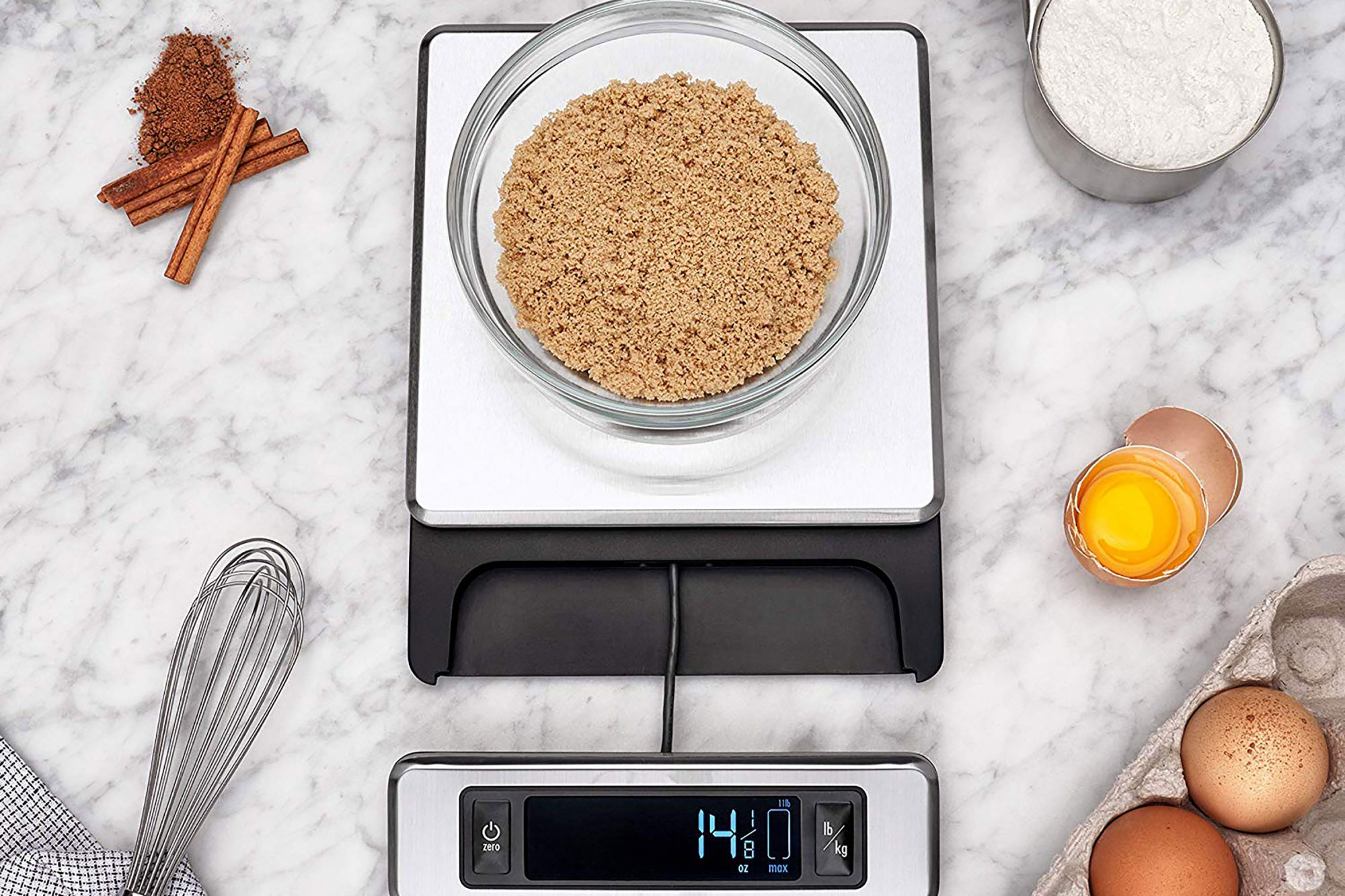 OXO Food Scale with brown sugar