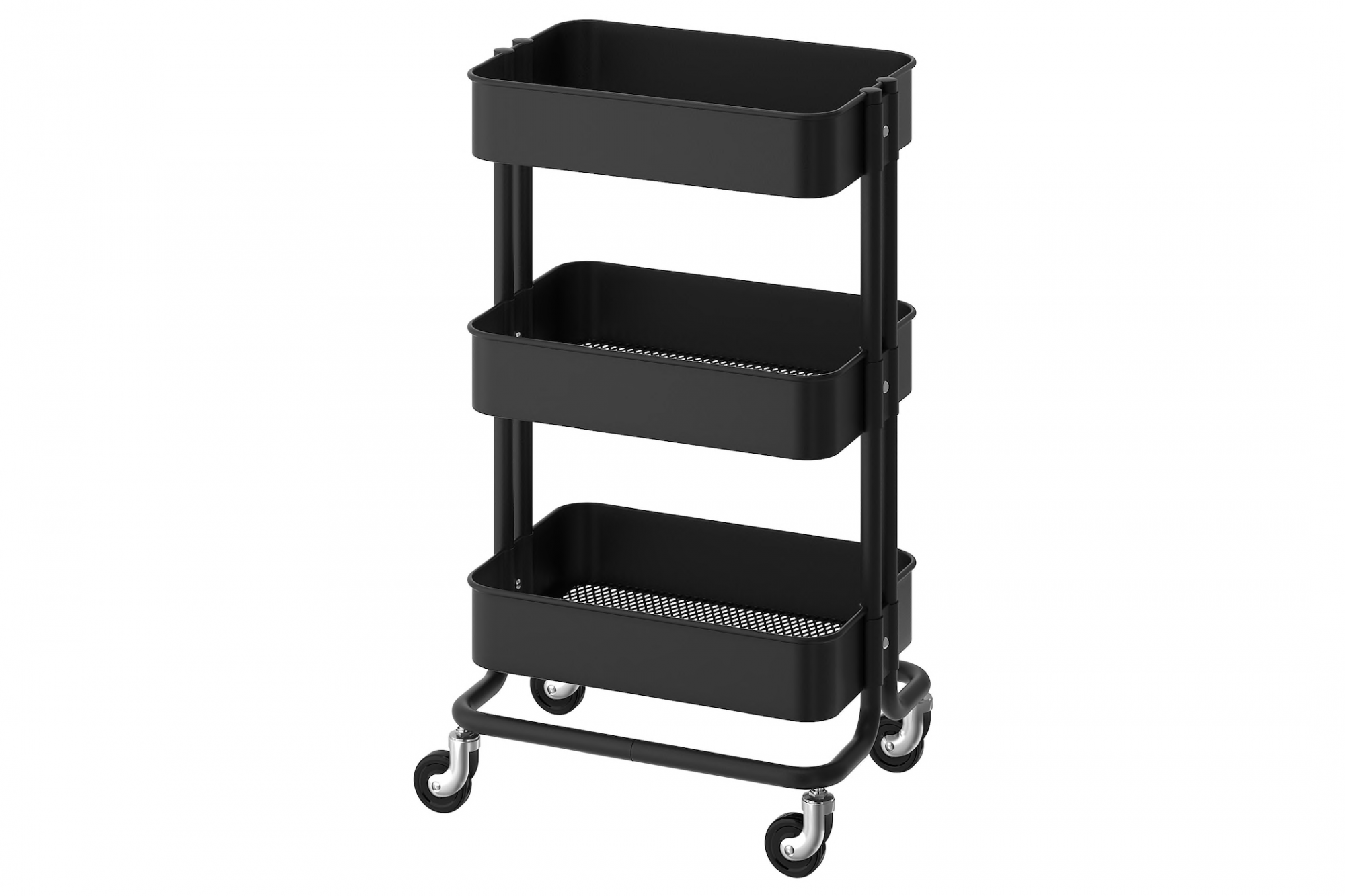 black IKEA rolling utility cart with three shelves