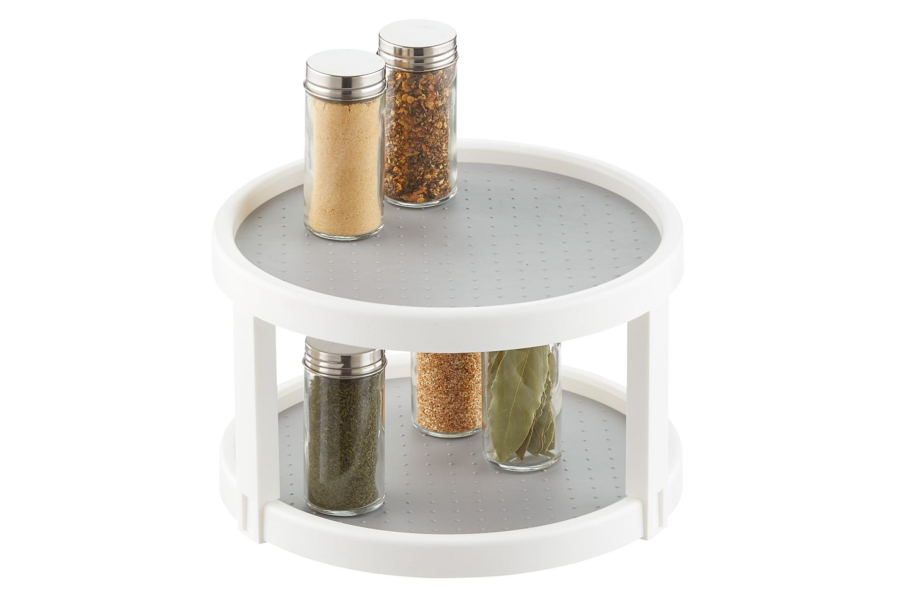 lazy susan with jars of spices