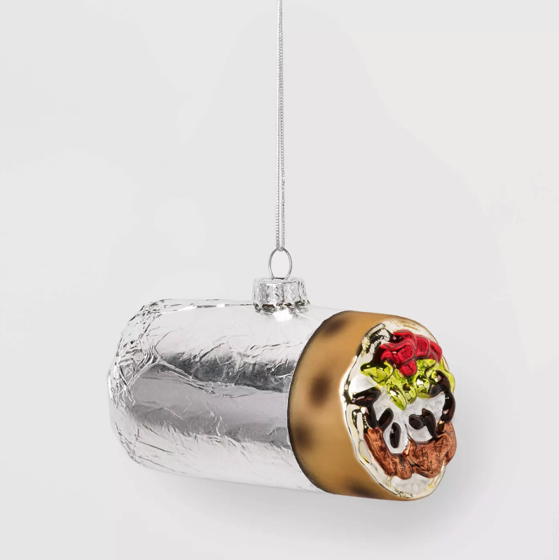 Burrito Glass Christmas Ornament