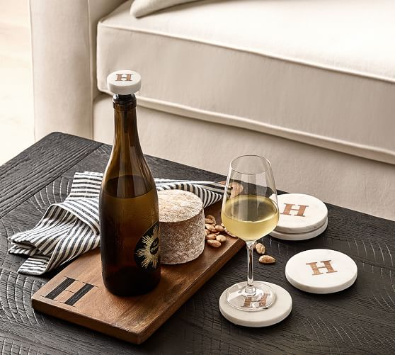 Alphabet Marble And Wood Coasters, Set Of 4