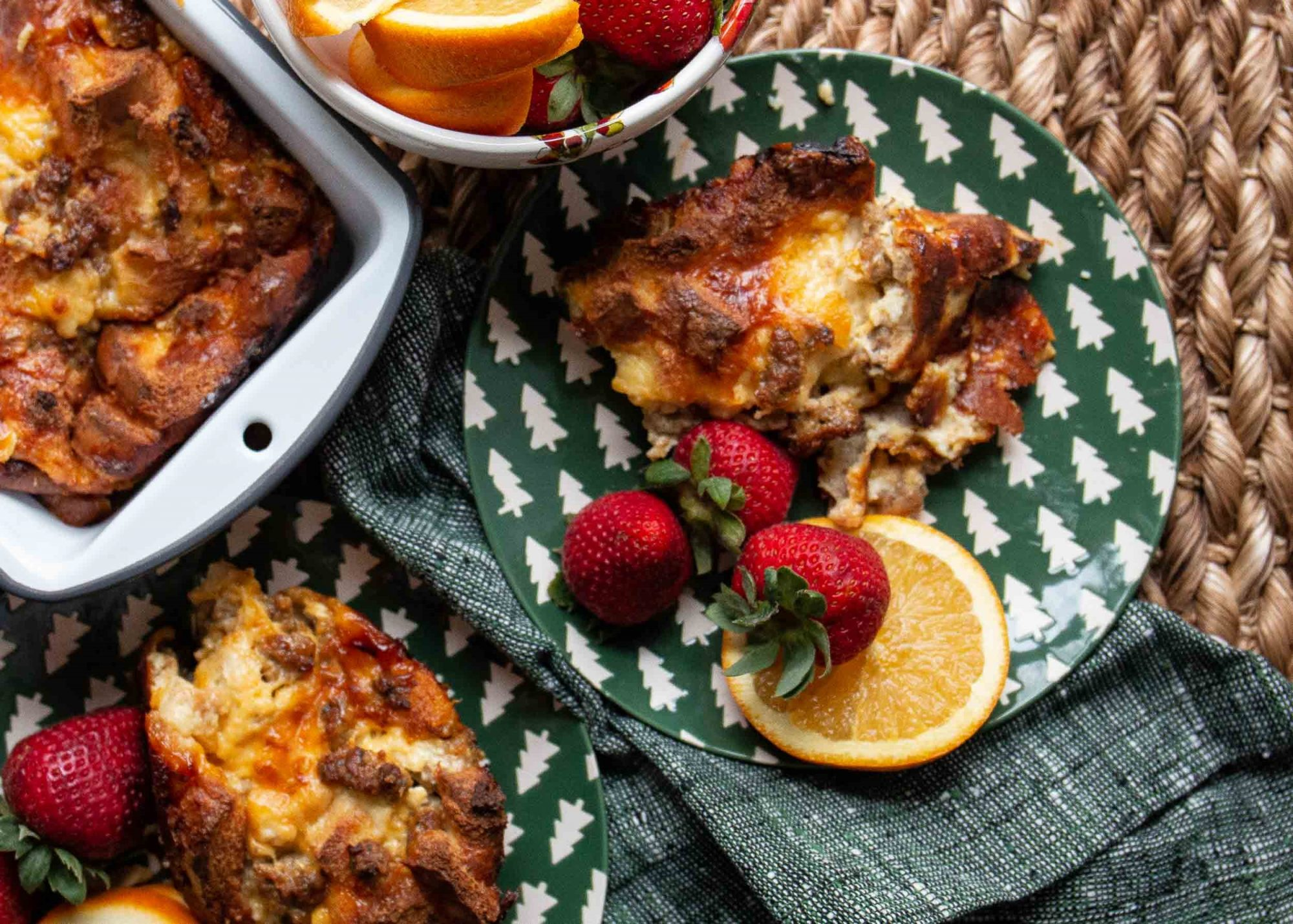 breakfast sausage casserole with strawberries and orages