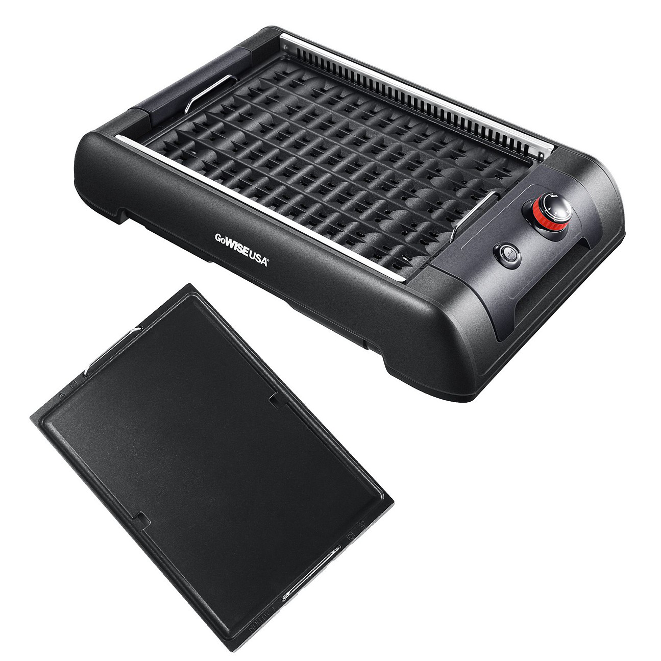 If it's raining or too cold for grilling, this electric indoor grill can handily pinch hit for an outdoor grill. With a generous cooking surface of around 20 by 12 inches, this grill can accommodate burgers or steaks for the whole family, with a side of veggies. No worries about setting off the fire alarm either; a built-in fan eliminates smoke. And come morning, the included flat cooking surface serves as a griddle to cook up pancakes, bacon, and fried eggs.