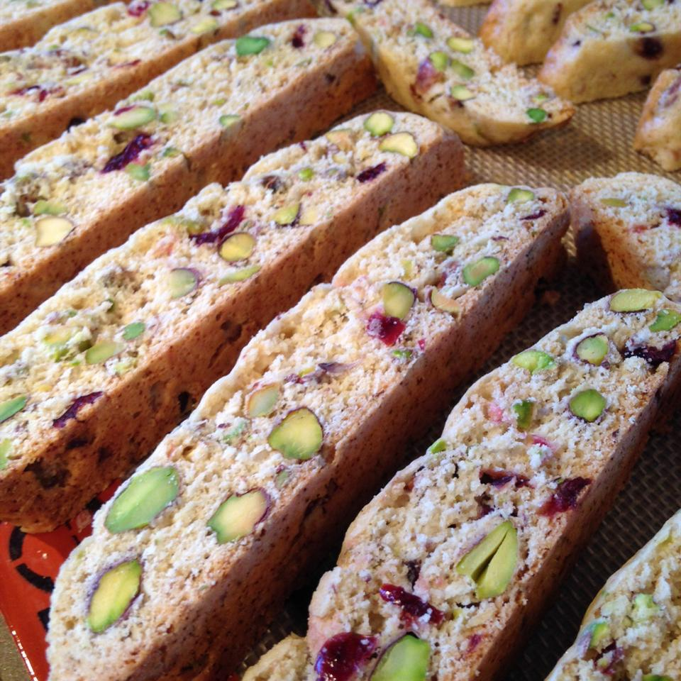 pieces of Cranberry Pistachio Biscotti lined up