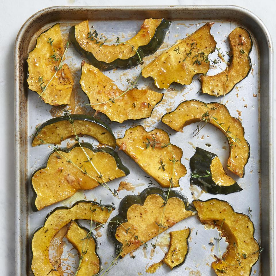 Parmesan Roasted Acorn Squash on a sheet pan