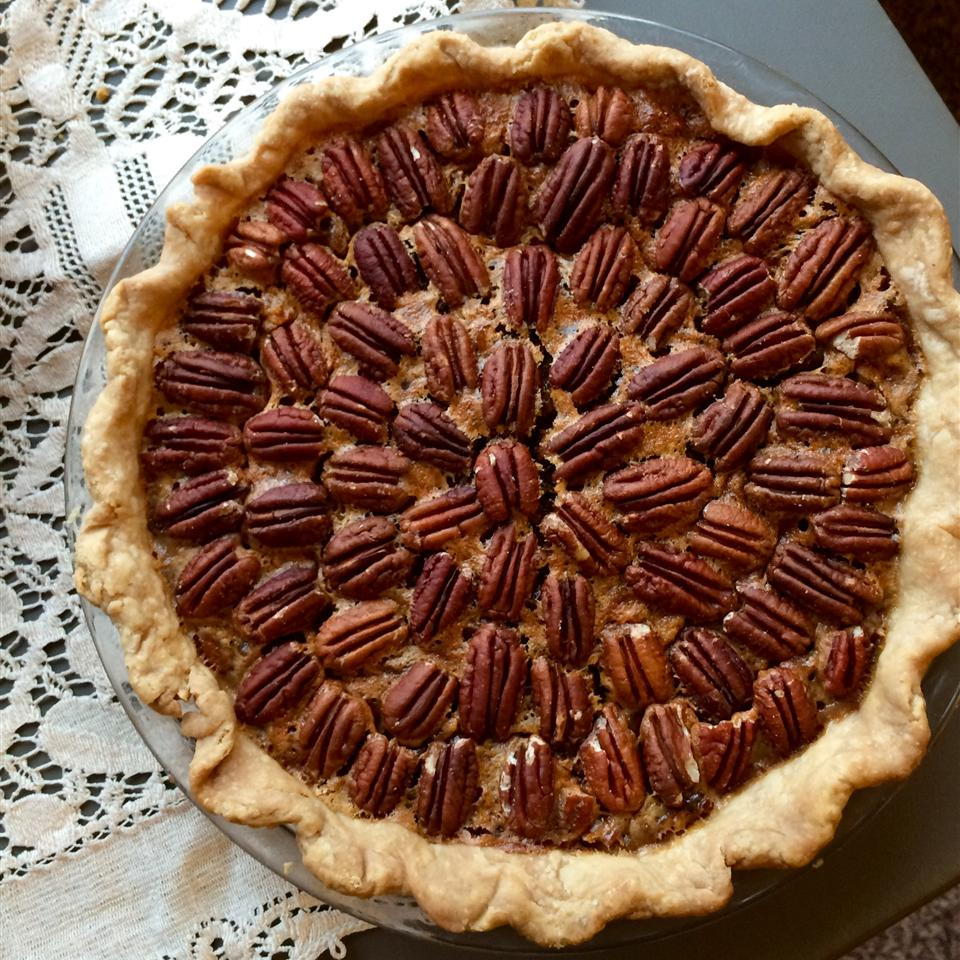 Caramel Pecan Pie with lace placemat