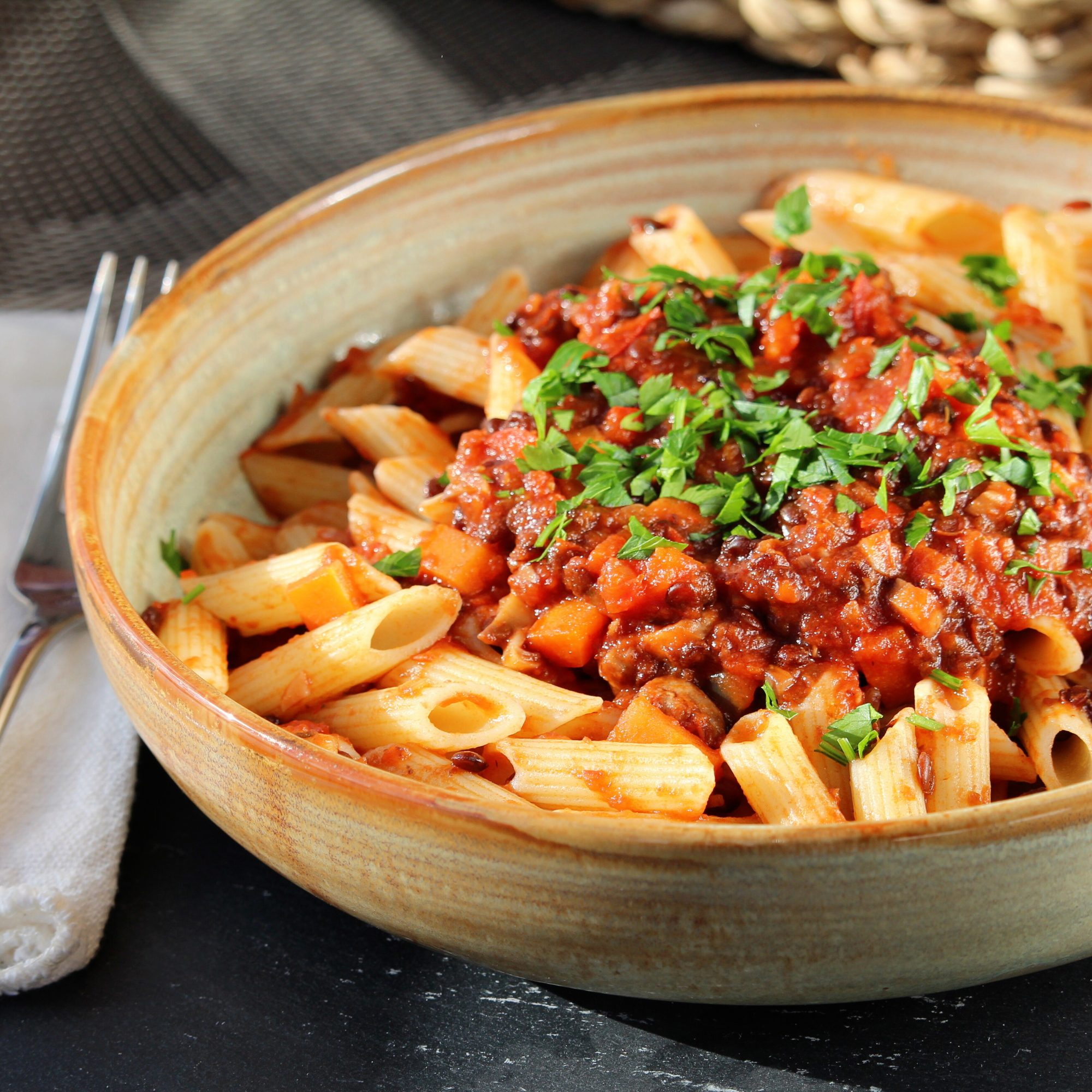 Lentil Bolognese in a ceramic bowl