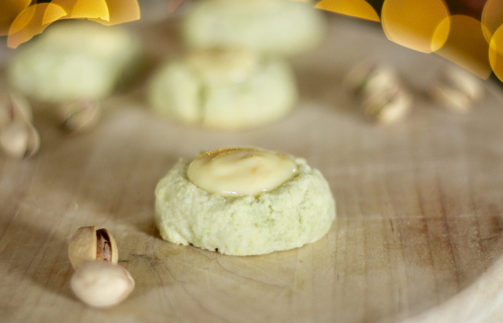 White Chocolate-Orange-Pistachio Thumbprint Cookies