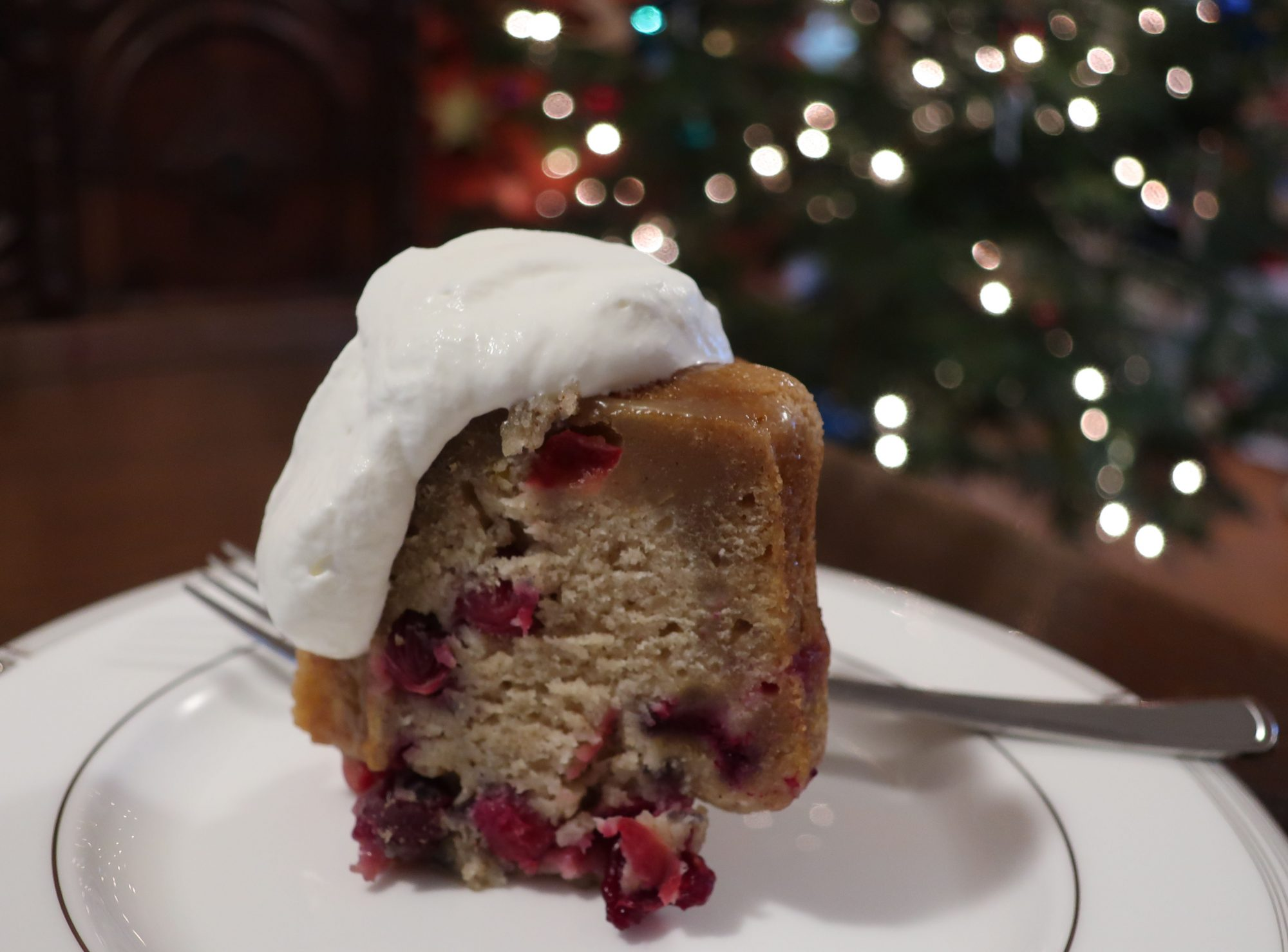 cranberry pudding with whipped cream