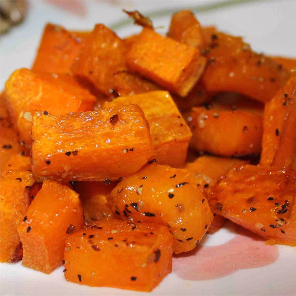 Simple Roasted Butternut Squash in a white dish