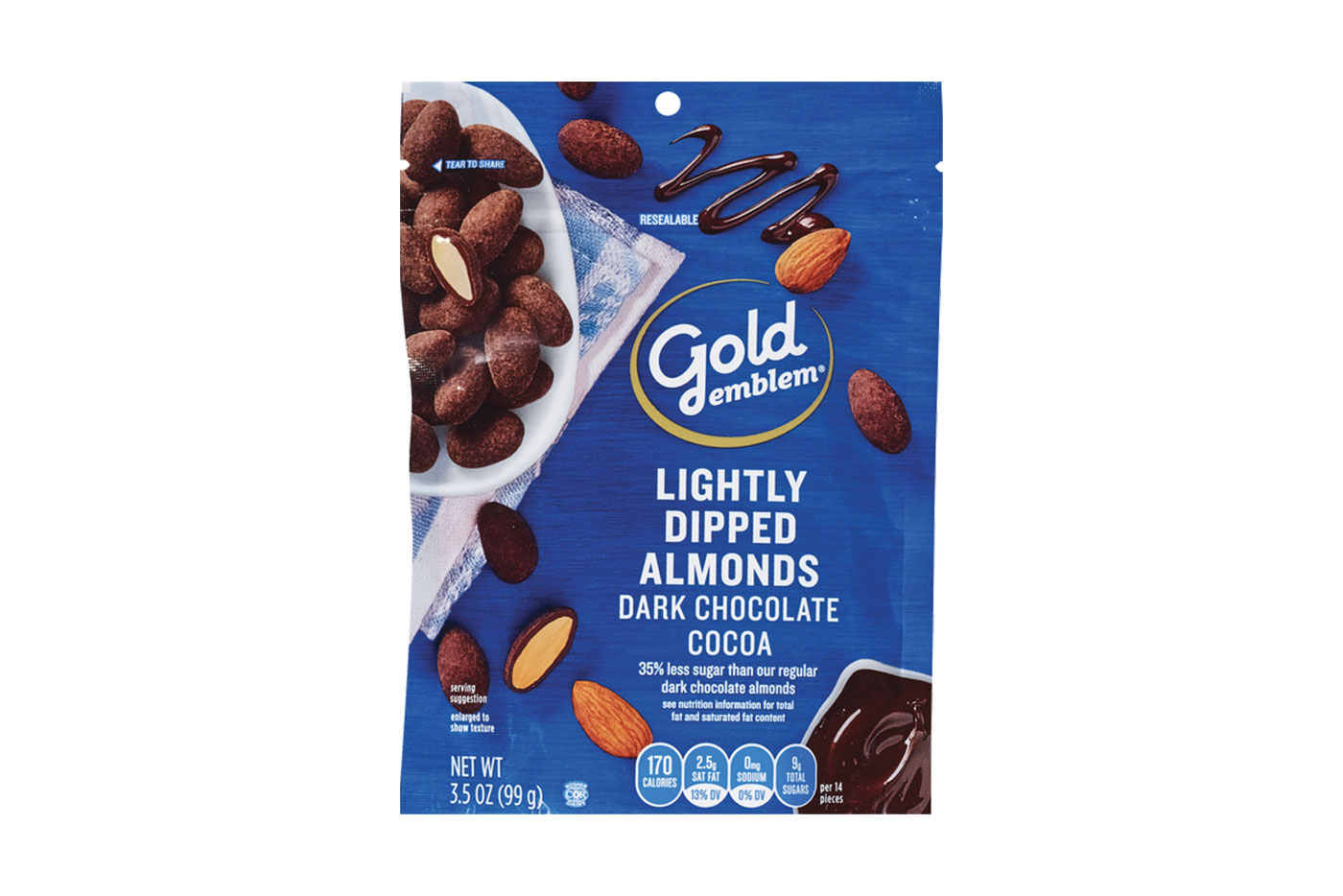 Gold Emblem Dark Chocolate Cocoa Lightly Dipped Almonds