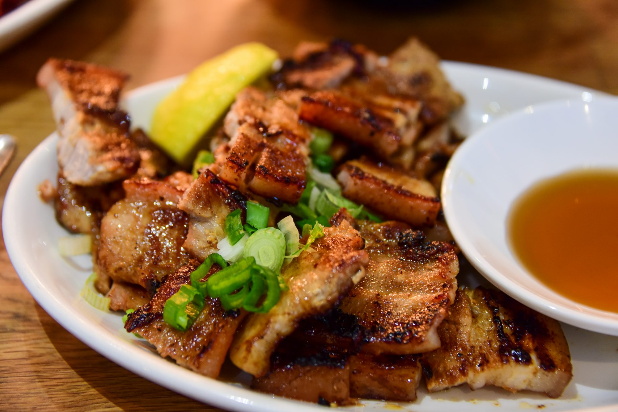 Inihaw Na Liempo, Filipino marinated pork belly served with vinegar