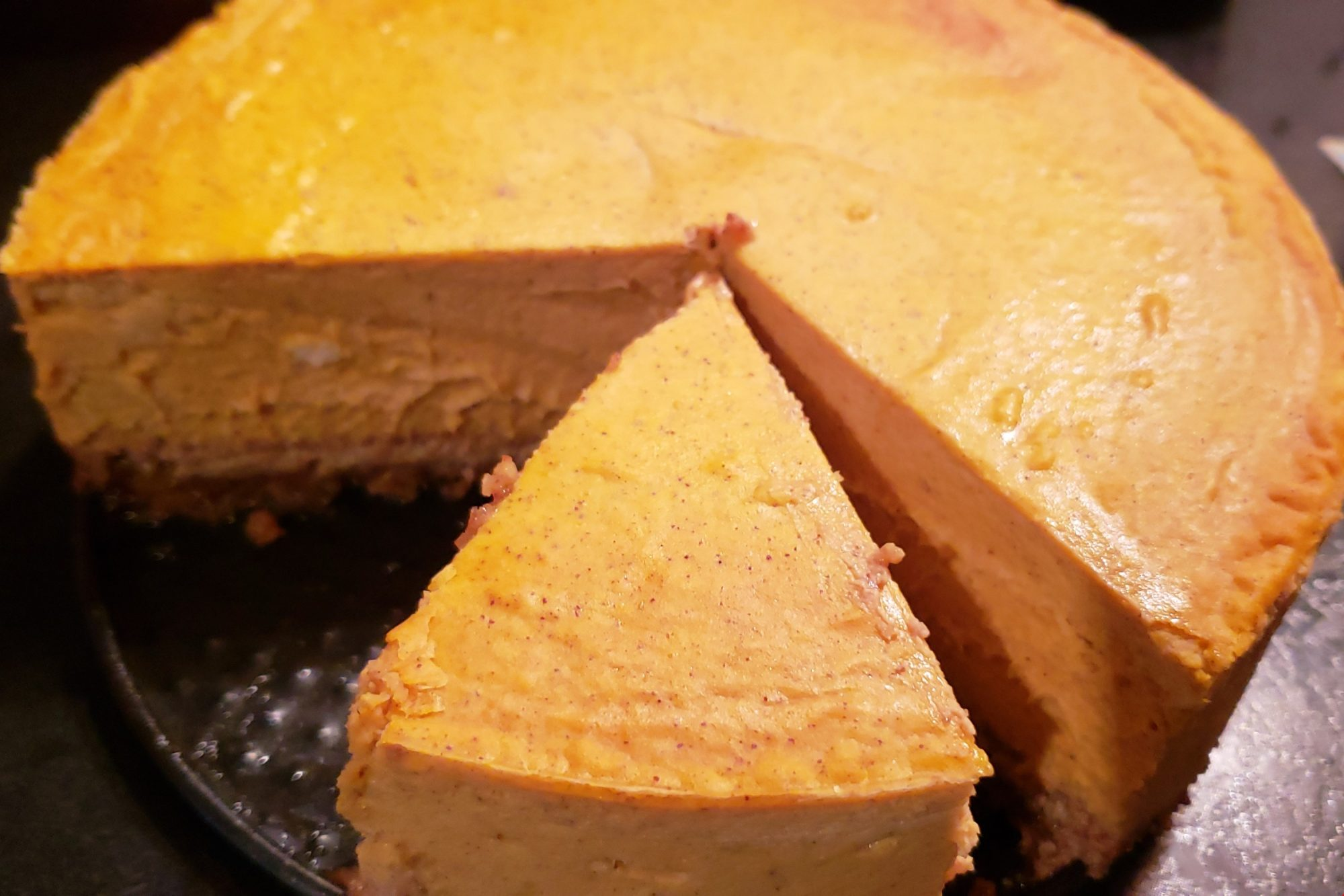 Keto Pumpkin Cheesecake with Almond Pecan Crust