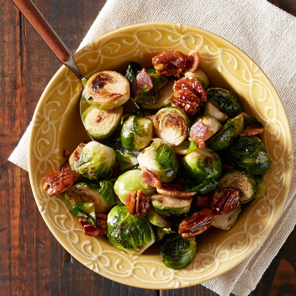 Pancetta Brussels Sprouts with Caramelized Pecans