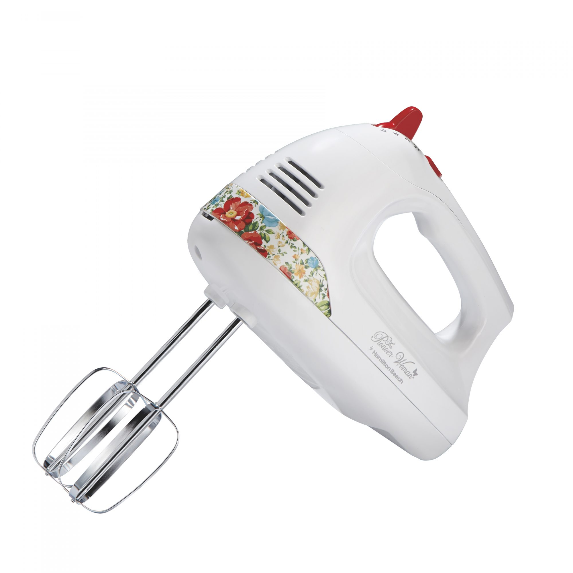 The Pioneer Woman 6-Speed Hand Mixer with Vintage Floral Design and Snap-On Case