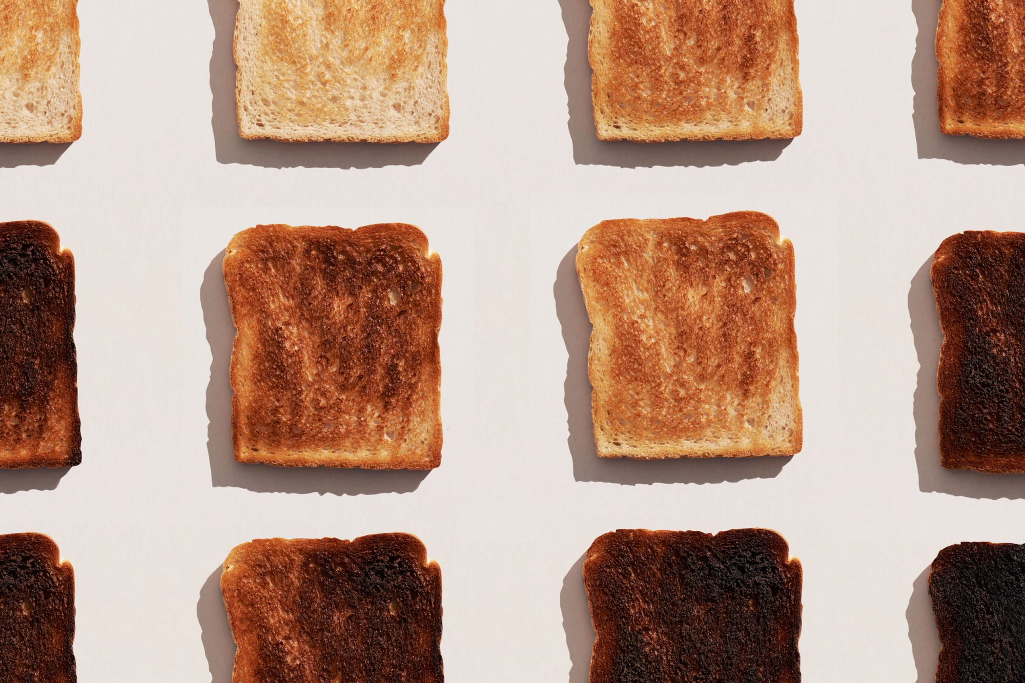 rows of toast