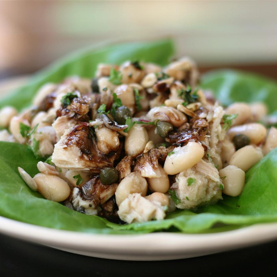 Tuna and White Bean Lettuce Wraps with Balsamic Syrup