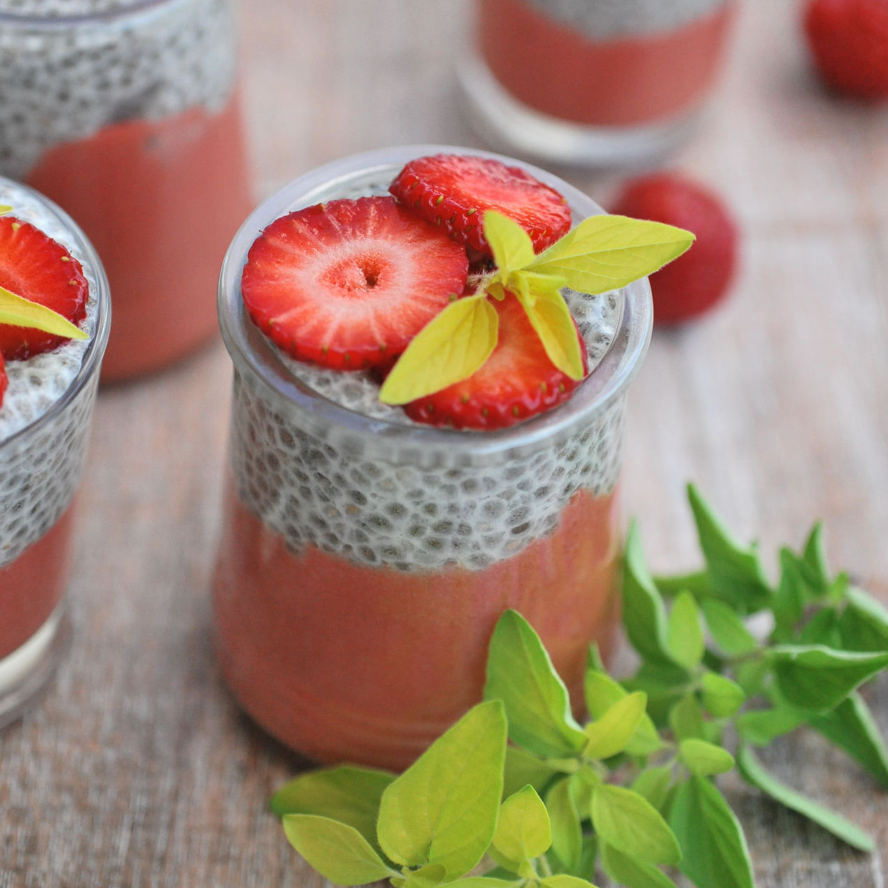 Chia Pudding with Strawberry Puree