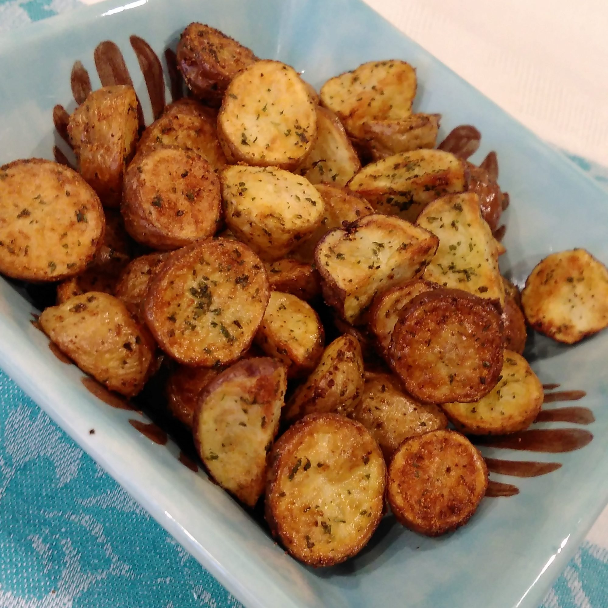 baby potatoes in a blue dish