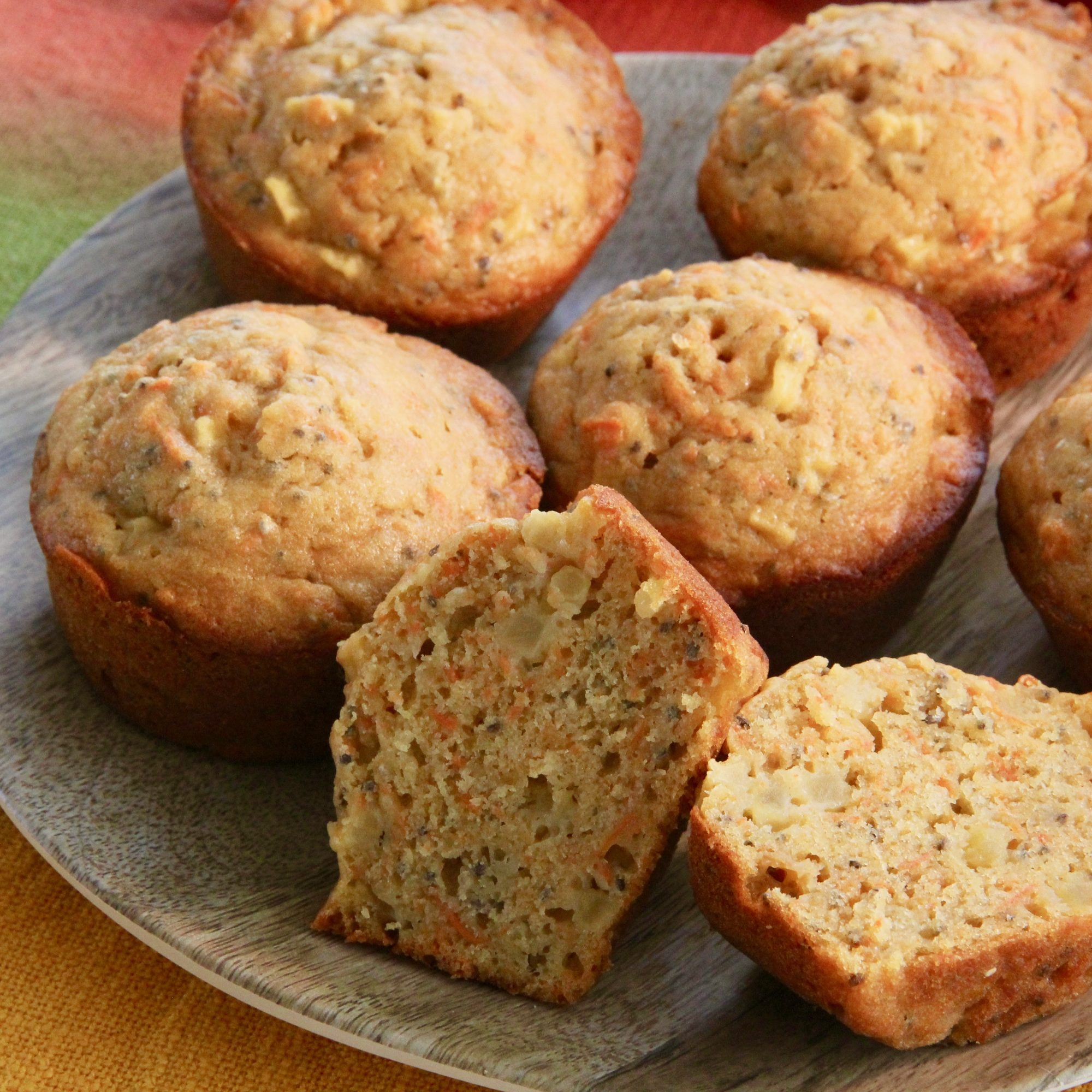 Apple, Carrot, and Chia Muffins