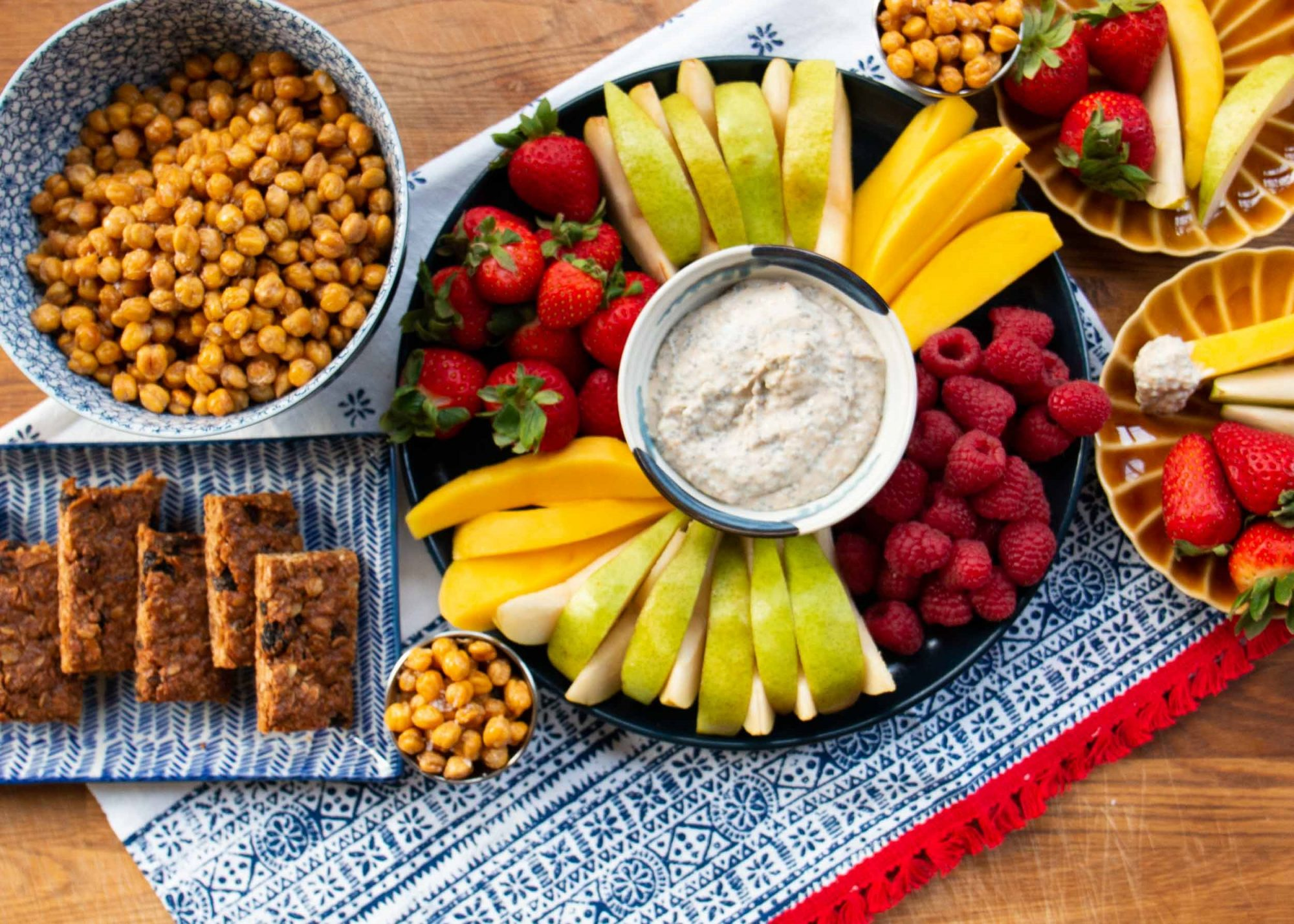 array of healthy snacks for kids