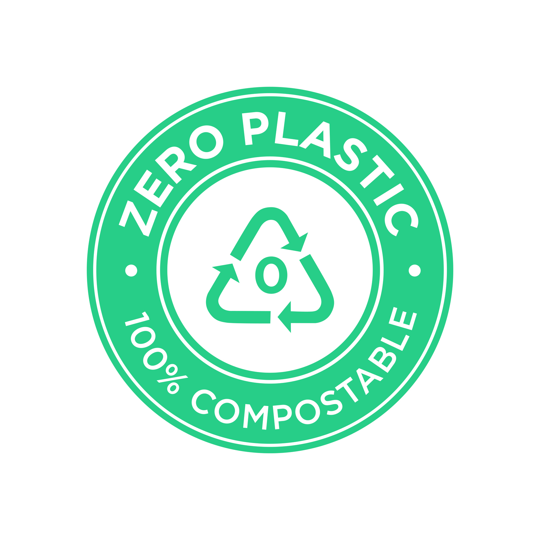 Zero plastic icon. 100% compostable symbol.