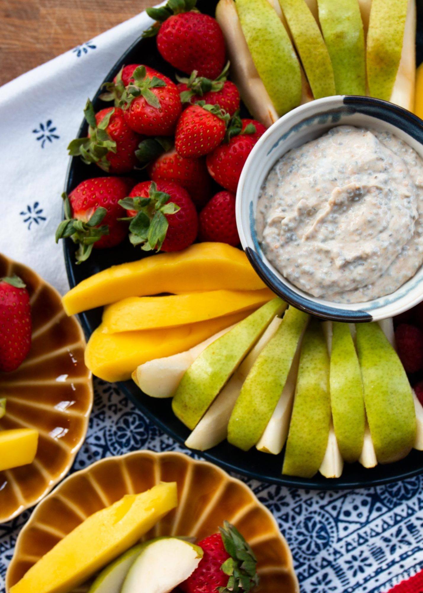 healthy peanut butter dip with fruit