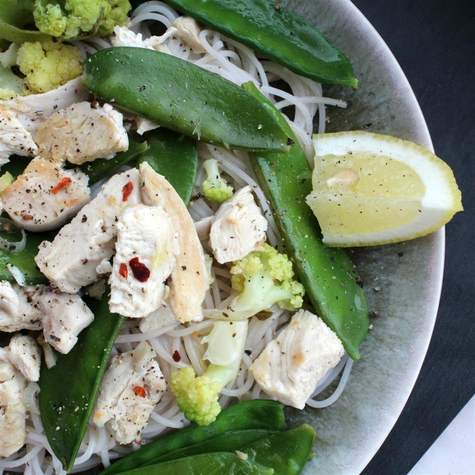 Lemon Chicken and Snow Pea Noodle Bowls