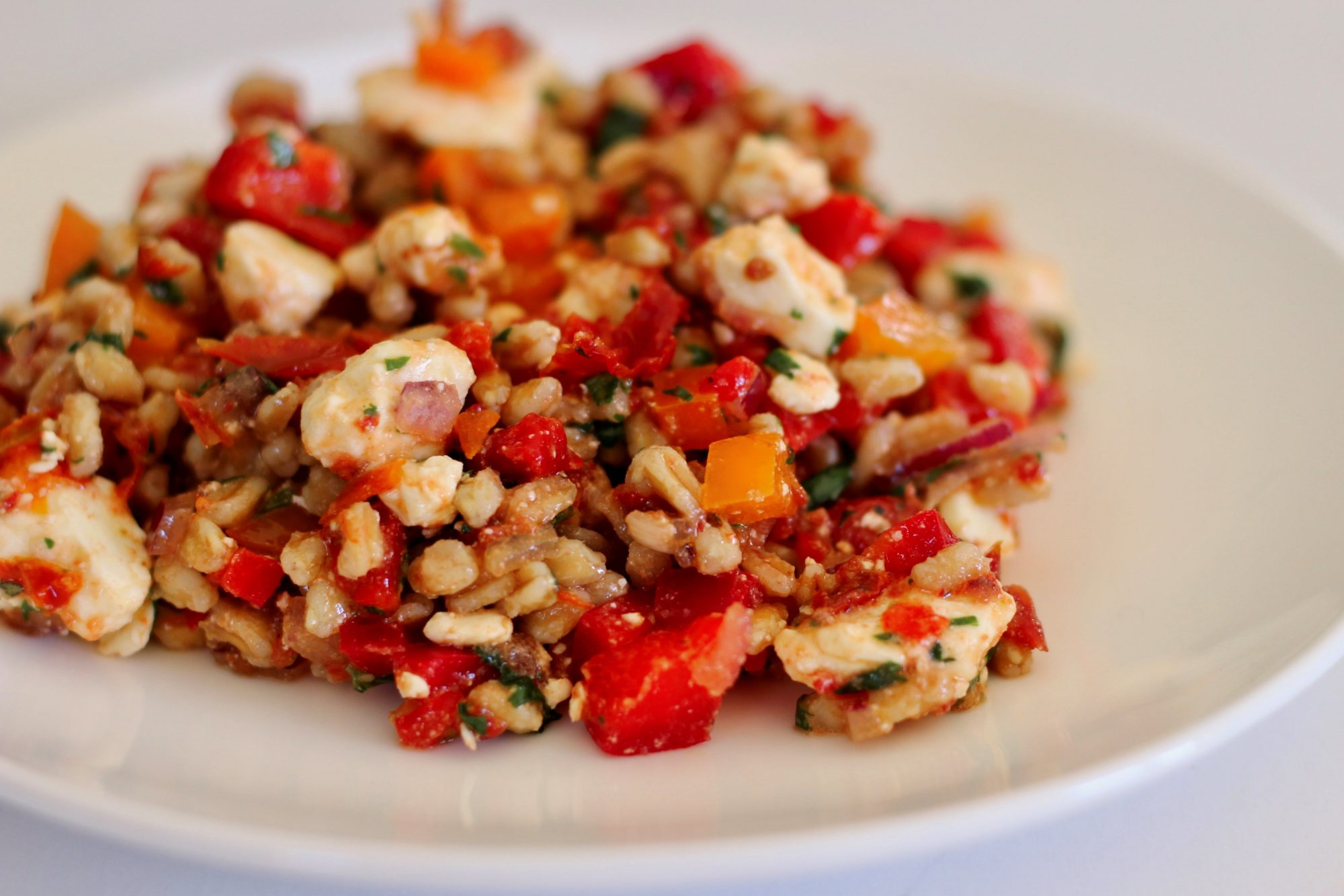 A colorful farro salad on a white plate