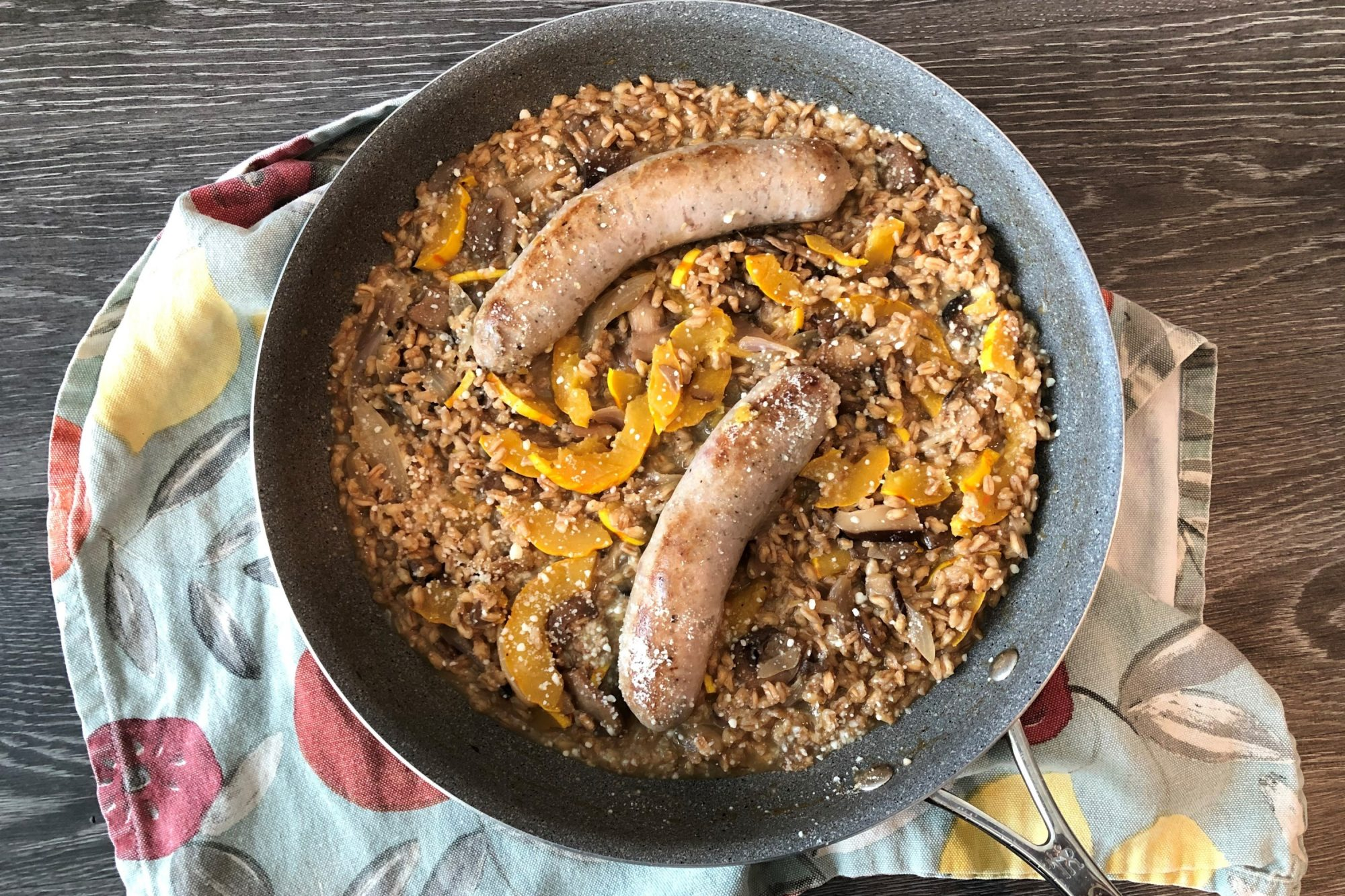 Sausage and Farro Skillet with Mushrooms and Delicata Squash