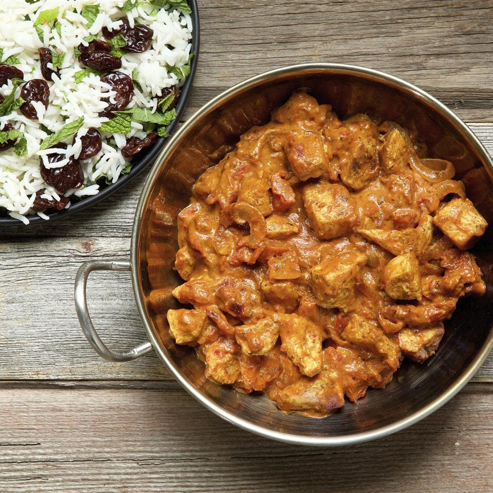 curried coconut chicken served with rice