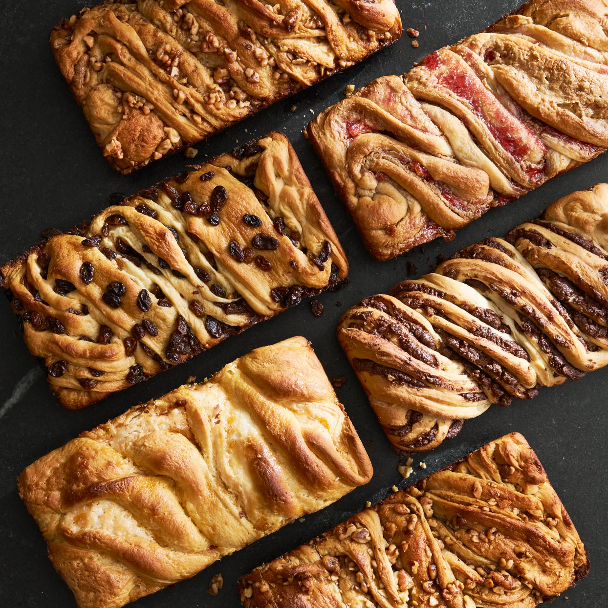 loaves of babka with a variety of fillings