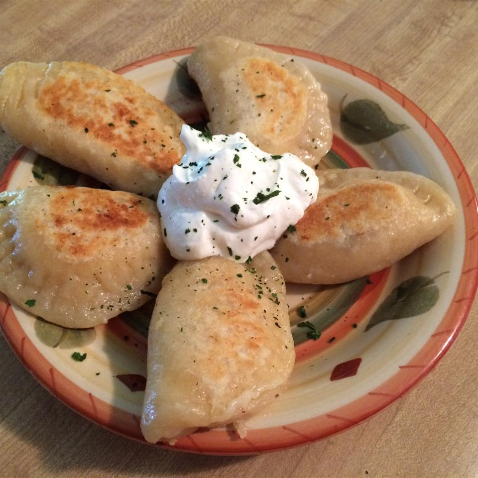 perogies and sour cream