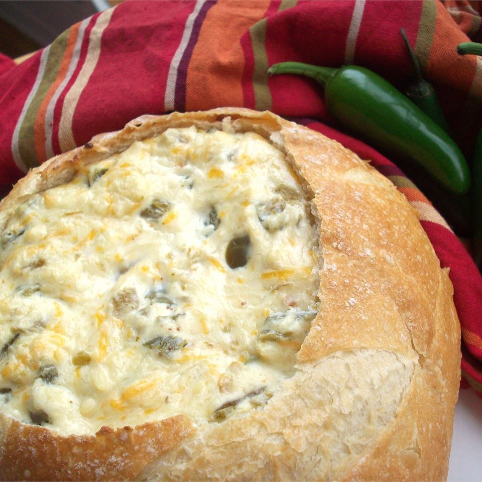 Insanely Amazing Jalapeno Cheese Dip in a bread bowl