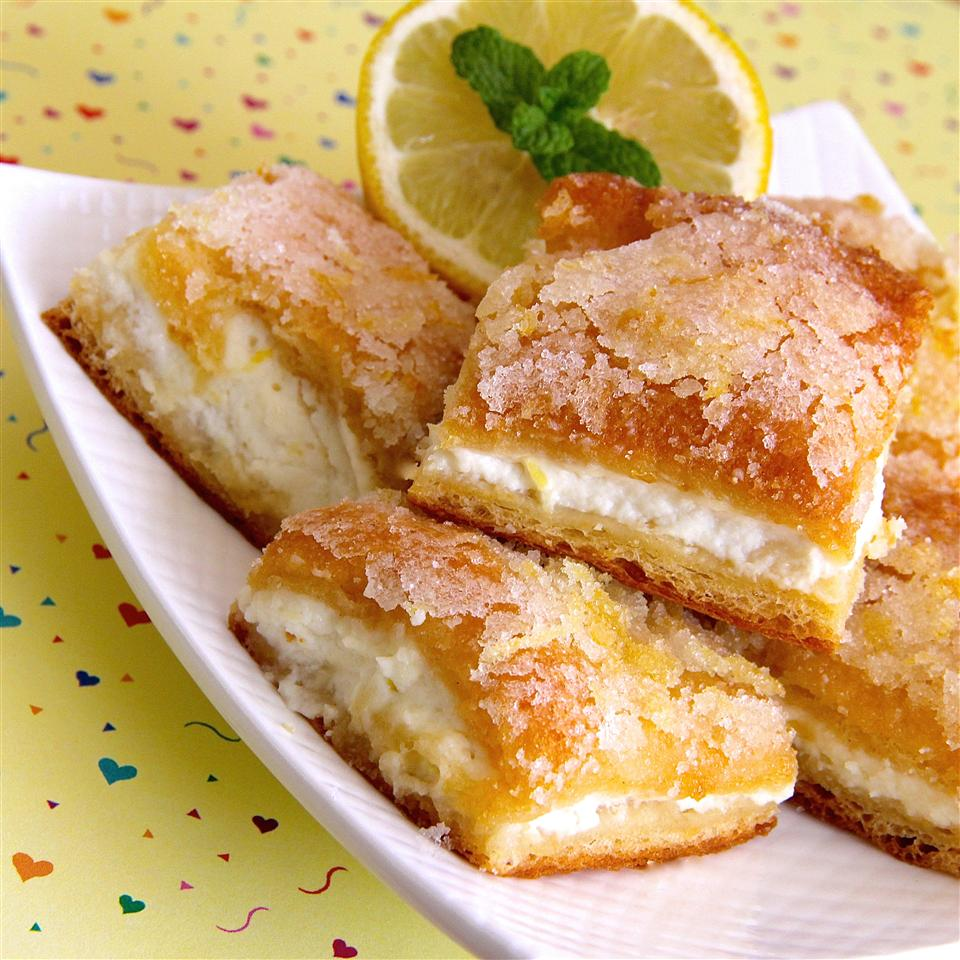 Lemon Cream Cheese Bars on a plate