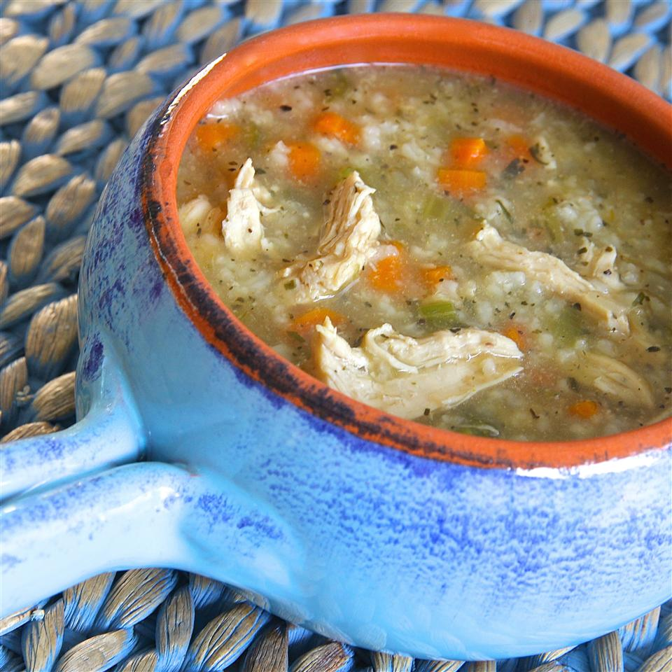 Tarragon Chicken and Rice Soup in a blue bowl